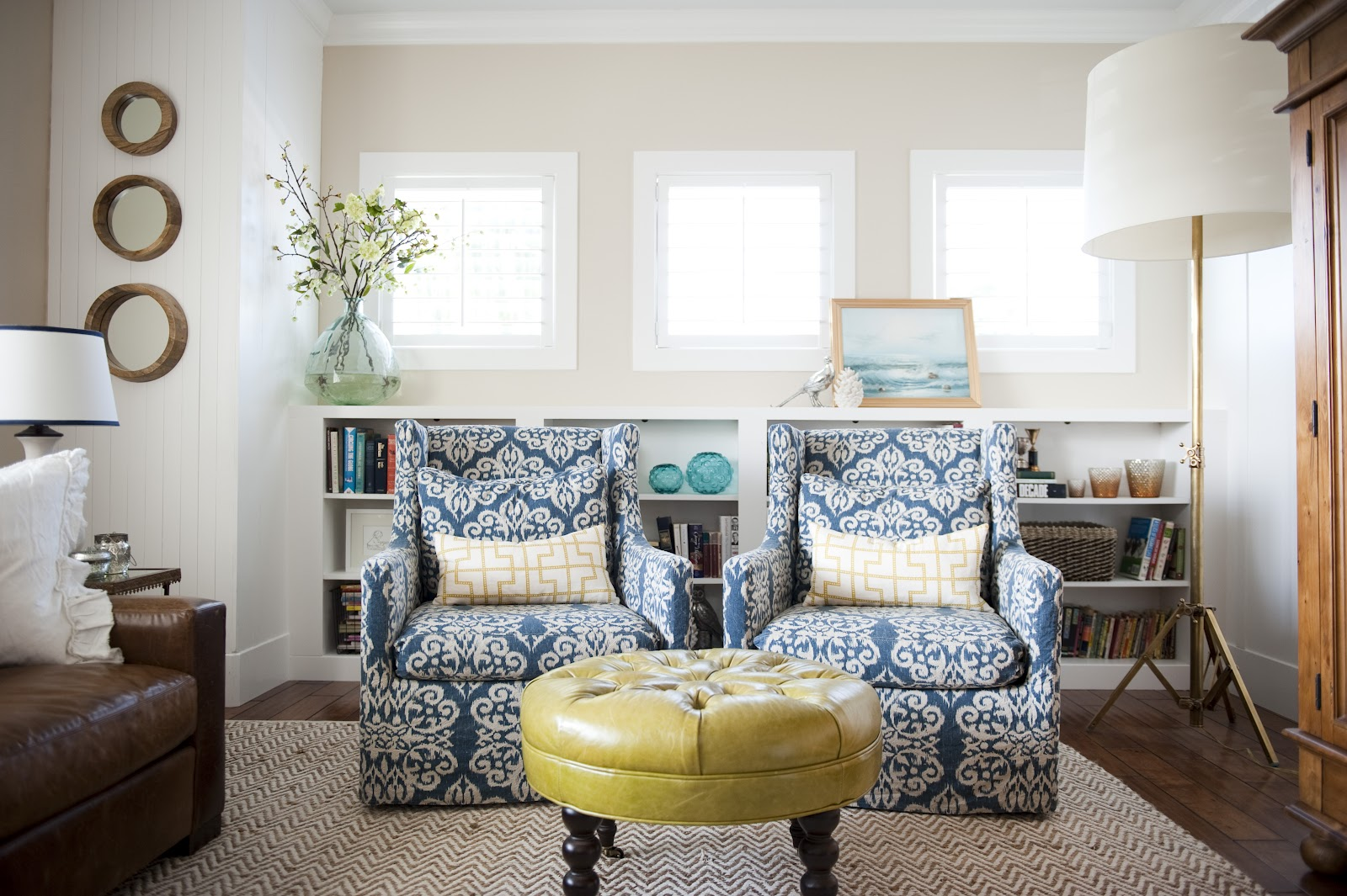 The Swivel Chairs And Ottoman Are From Lee Industries. The Rug Is From West  Elm.