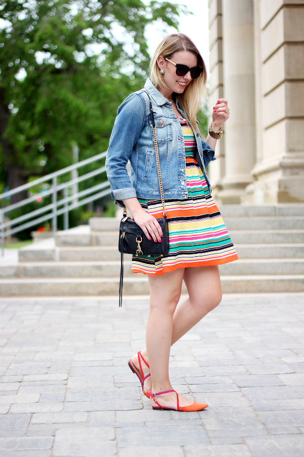Zara Colorblock Shoes, Fidelity Denim Jacket, Rebecca Minkoff Mini Mac