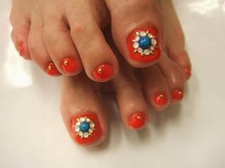 Acrylic toe extensions and led polish with embellishments Nail Art Design