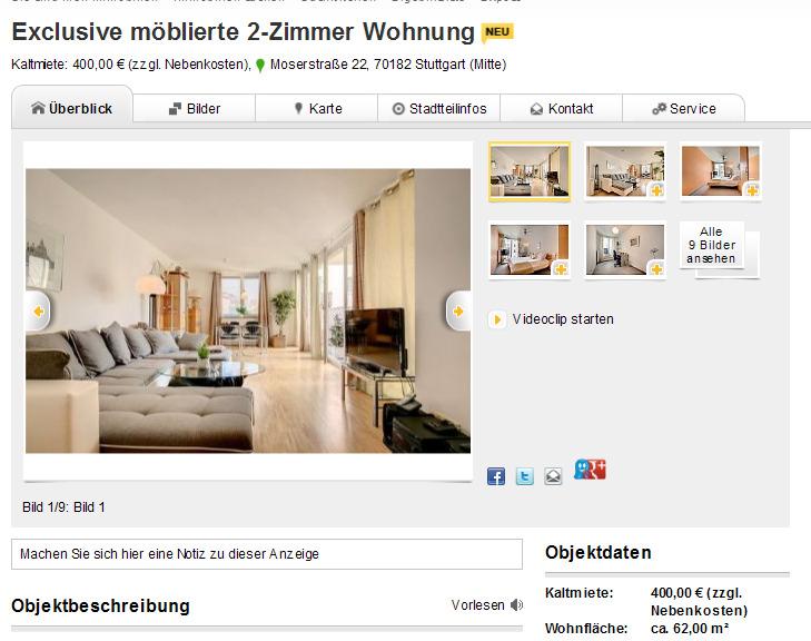 exclusive m blierte 2 zimmer wohnung kaltmiete 400 00 zzgl. Black Bedroom Furniture Sets. Home Design Ideas