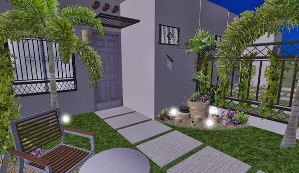 diseño 3D jardin pequeño fachada - iluminacion noche 5