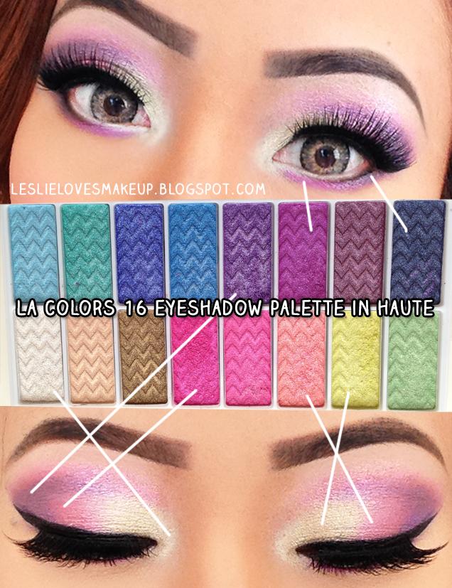 leslie makeup bright colorful look using la colors