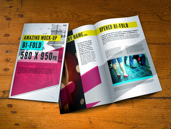 Download Brochure Mockup Gratis - PSD Bifold Brochure Mockup Template