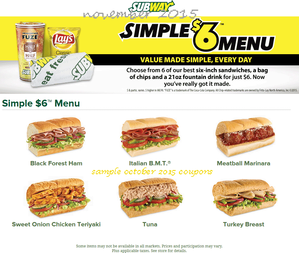 Subway deals december 2018