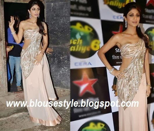 shilpa shetti  light pink colour saree