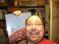 Crazy-looking man with Rush Hemispheres album