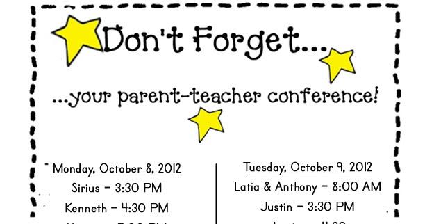 Miss Ahrens' Class: Parent-Teacher Conference Schedule