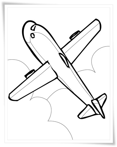 FLUGZEUG zum Ausmalen HelloKids  - Ausmalbilder Flugzeuge Gratis