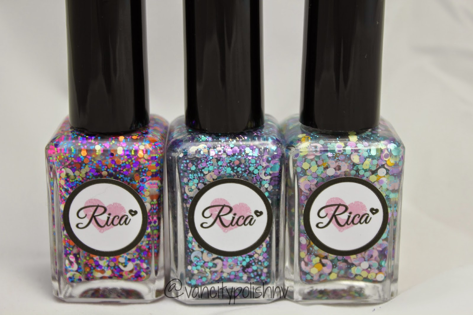 Rica leopard glitter polishes