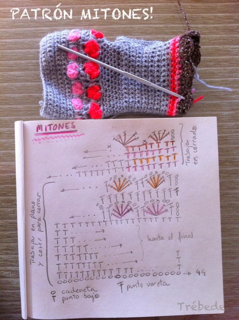 Vistoso Patrón Mitones Crochet Bandera - Manta de Tejer Patrón de ...