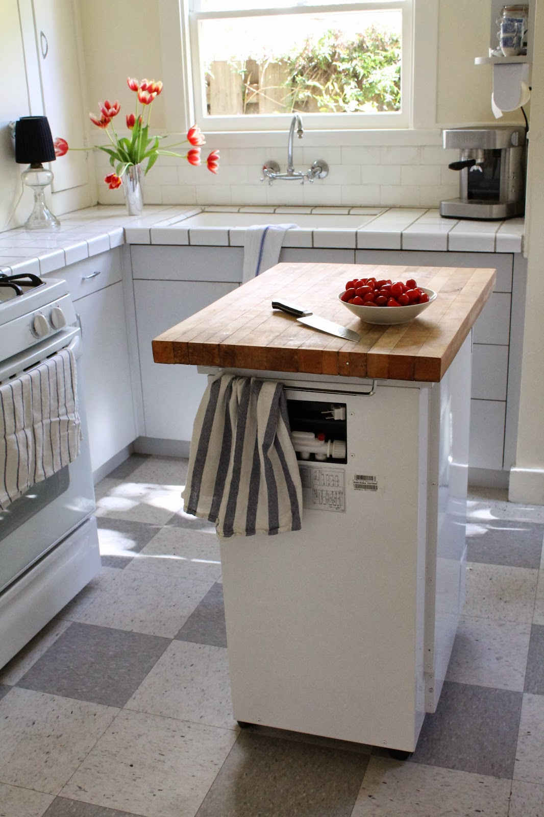 Portable Kitchen Island with Dishwasher