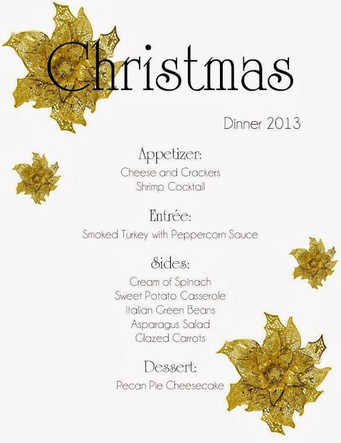 Christmas Dinner Menu 2013:Mom Mart