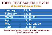 TOEFL TEST SCHEDULE