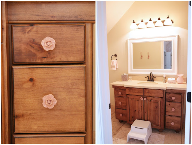 Rustic Girl Bathroom Anthropologie Rose Knobs TJ Maxx Mirror
