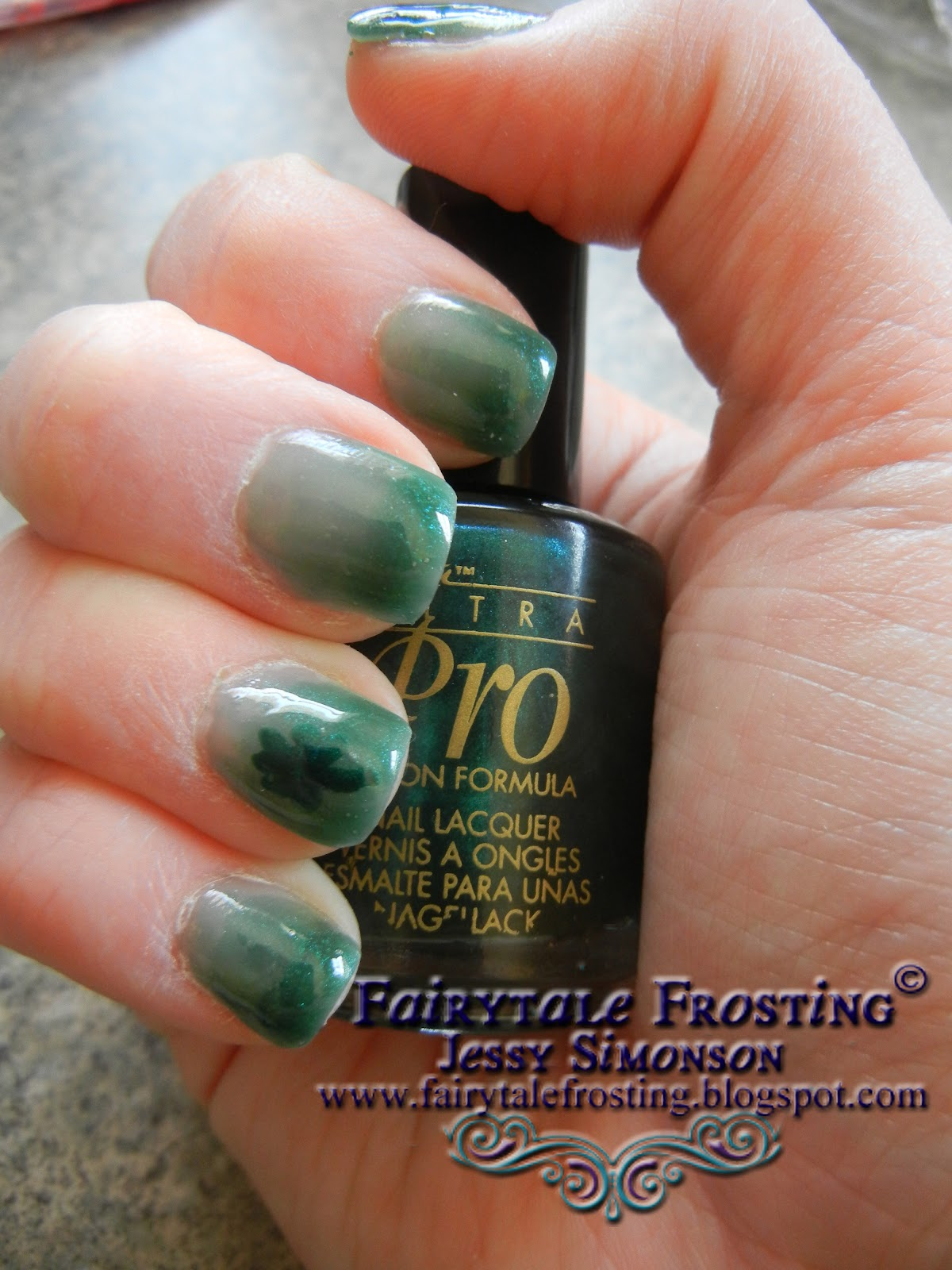 Fairytale Frosting: Green Ombre Shamrock Nail Art