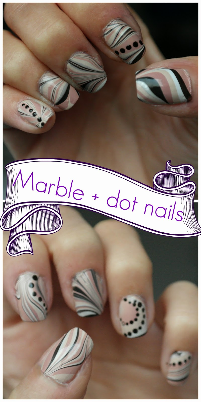 Water marble plus polka dot nails
