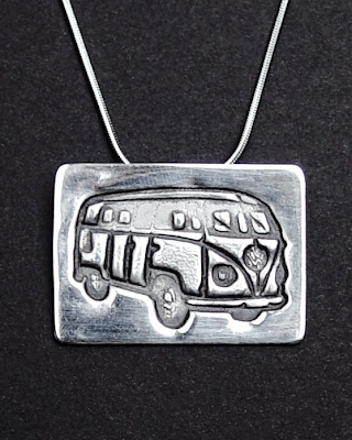 Sterling Silver VW Bus Hippie Pendant