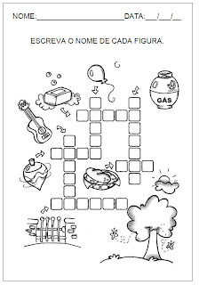 Hipótese de escrita alfabética - Alfabetização - Escreva o nome de cada figura 2