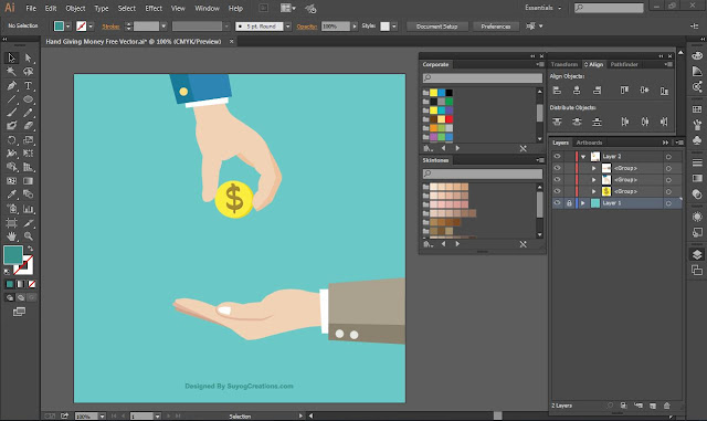 Hand Giving Money Free Vector Ai file