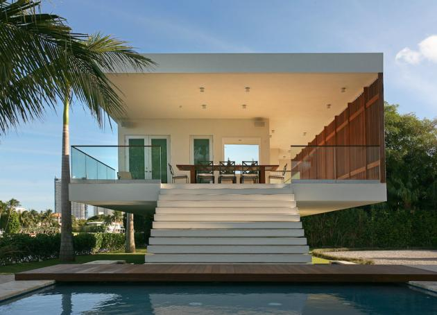 Pool house staircase in the Modern Villa by Touzet Studio