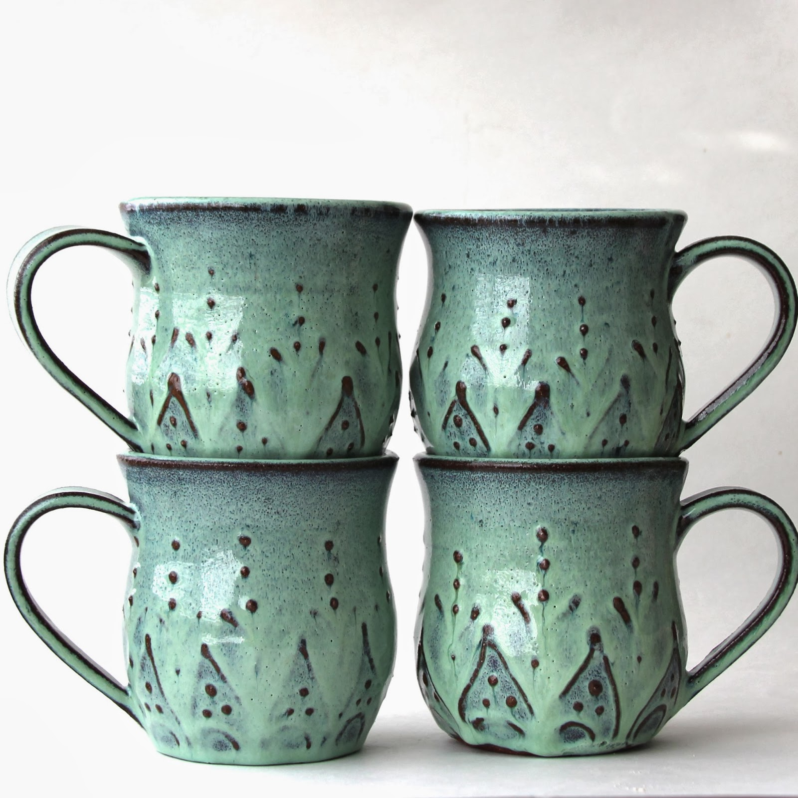 Matching mugs and tumblers. & Back Bay Pottery: French Country Handmade Dinnerware by Back Bay Pottery
