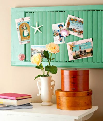 shutters as pin boards for organizing