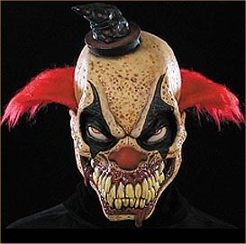 a terrifying scary evil clown mask