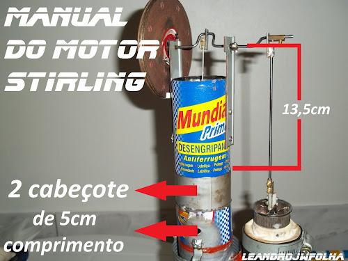 Manual do motor Stirling, medidas para montagem de um motor Stirling