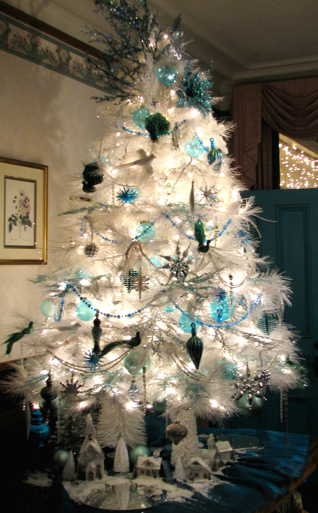 This primarily blue Christmas tree was located at Queen Anne