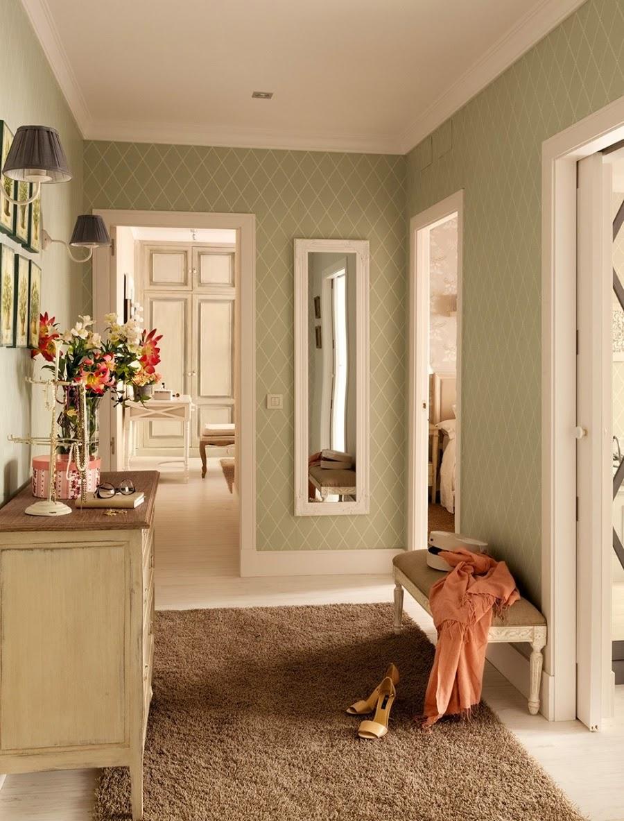 wystrój wnętrz, home decor, wnętrza, dom, mieszkanie, aranżacja, przedpokój, tapeta, kinkiet
