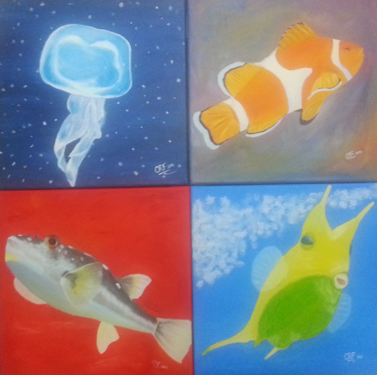 Jellyfish, clown fish, puffer fish, box fish paintings