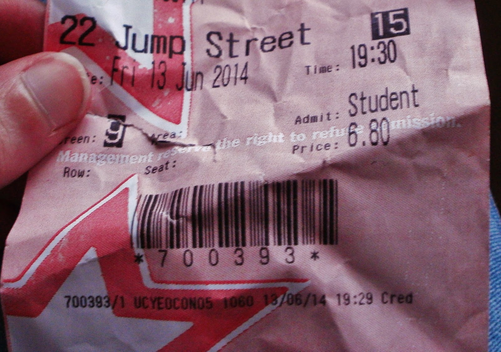 cinema ticket 22 Jump Street