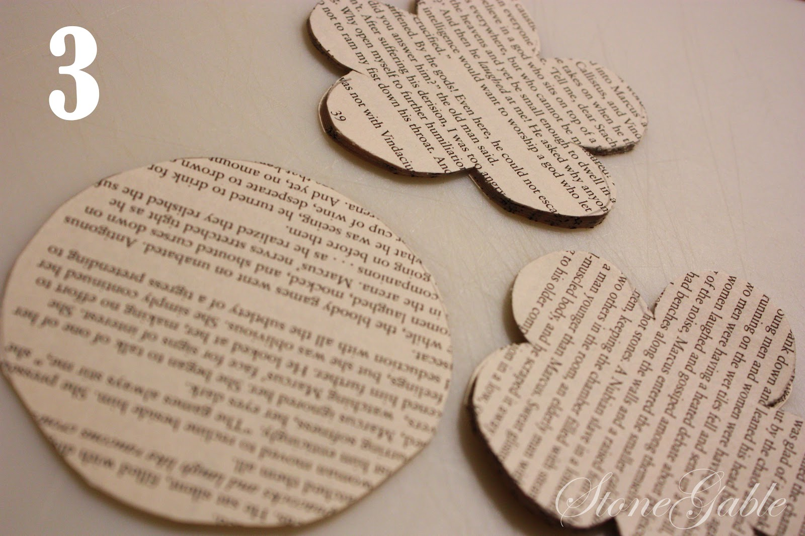 Book Page Posy Napkin Ring Tutorial Stonegable