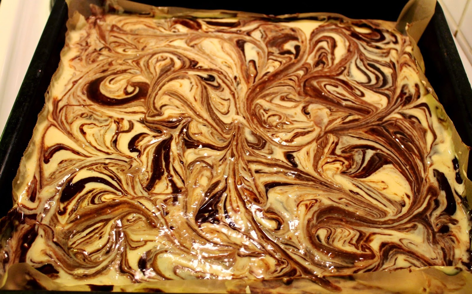 marbled brownies before baking by chef student to cocktail party