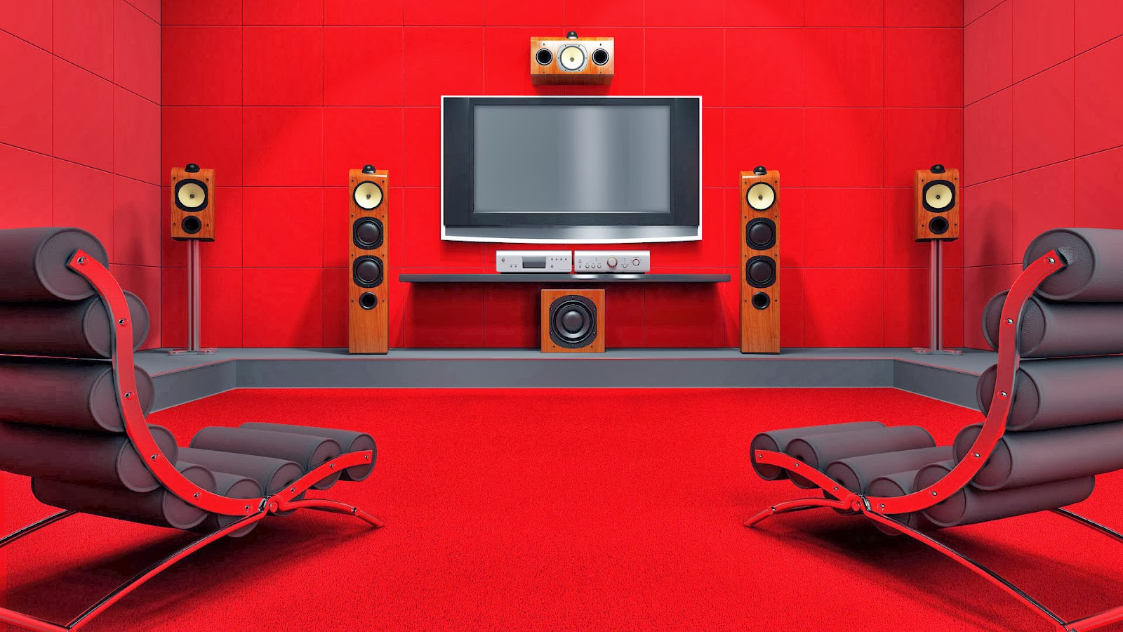 I9 projetos 3d design de ambientes sala de tv home for Red living room wallpaper