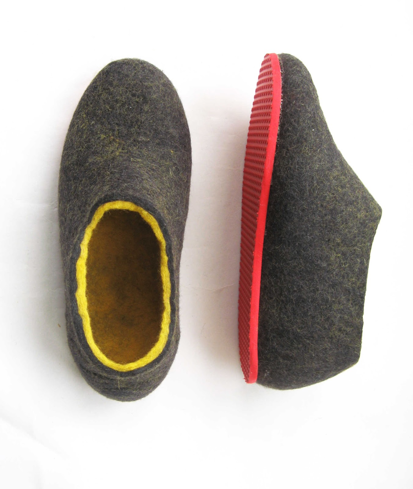 Ready for the spring felt wool shoes dark gray yellow with contrast
