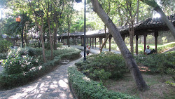 Long covered walkway.
