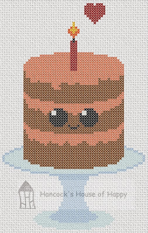 Everyone Loves Cake! Cute Kawaii Chocolate Cake Cross Stitch Chart
