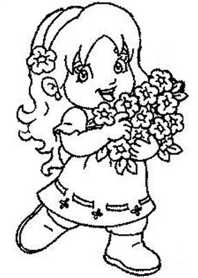 Desenho on Desenhos   Menina Segurando Flores   Colorir E Pintar   Ultra Desenhos