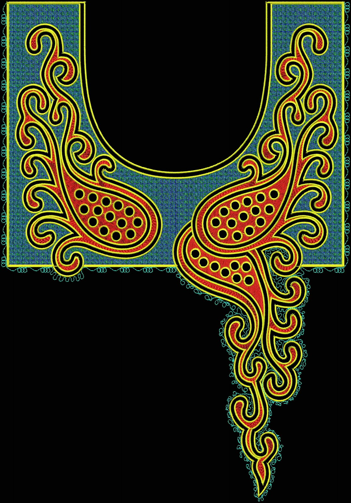 Sherrys Embroidery Digitizing Arebian Neck Embroidery Design Free