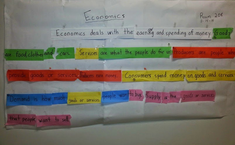 Student cooperative strip paragraph showing different colored sentence strips used to create a final paragraph about economics.