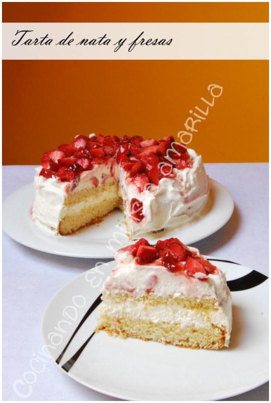 tarta de nata y fresas cumpleaños