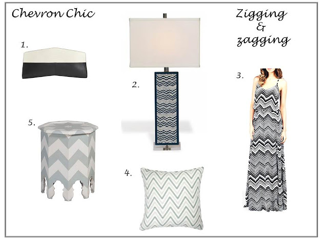chevron zigzag clutch purse side table lamp maxi dress pillow home decor fashion shopping