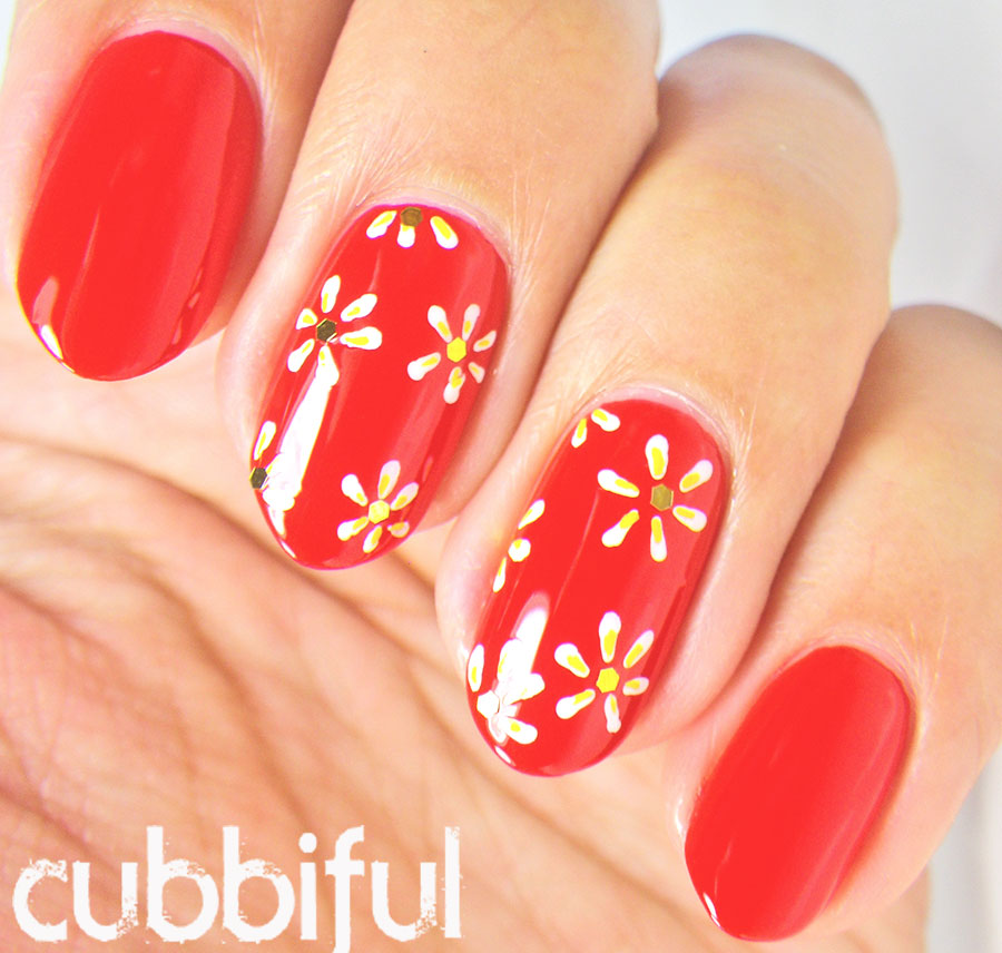 Cute White Daisies And Red