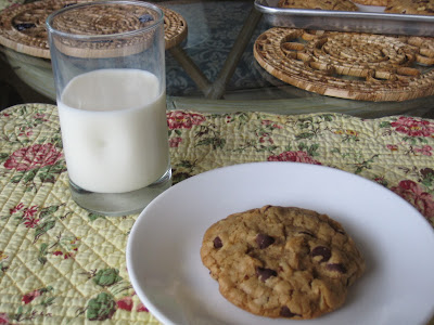 Enjoy your freshly baked chocolate chip cookie with a glass of milk