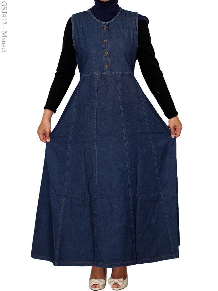 Gamis Jeans Over All Gsj412 Busana Muslim Murah Terbaru