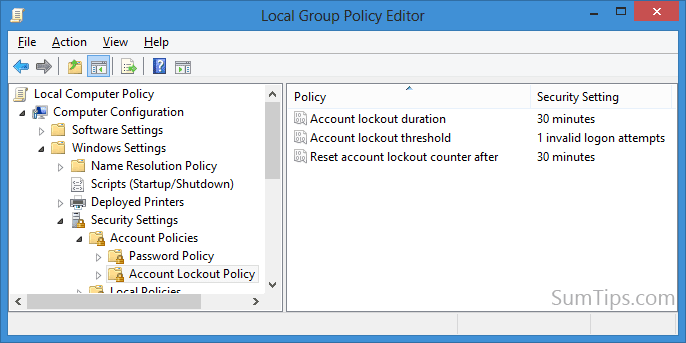 windows 8 account policy
