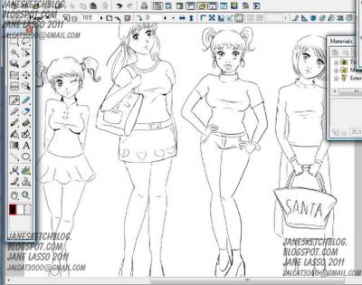 Dibujo en proceso en manga studio 4