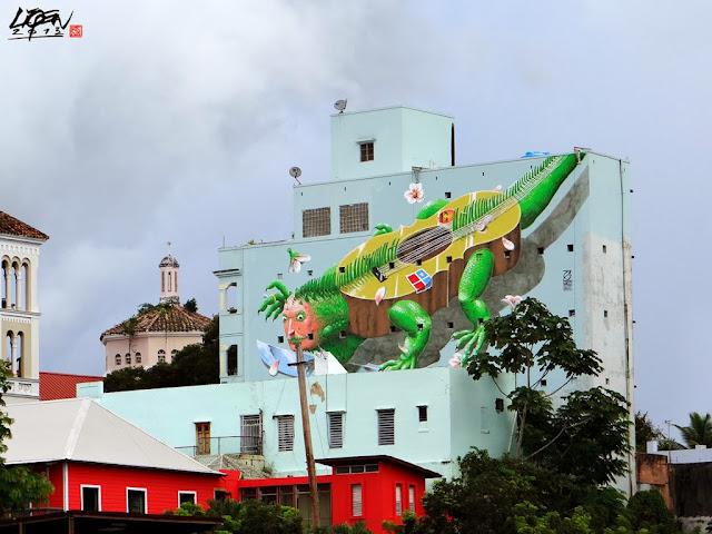 """Iguana Cuatro"" New Street Art Mural By Liqen For Los Muros Hablan 2013 in San Juan, Puerto Rico. 3"