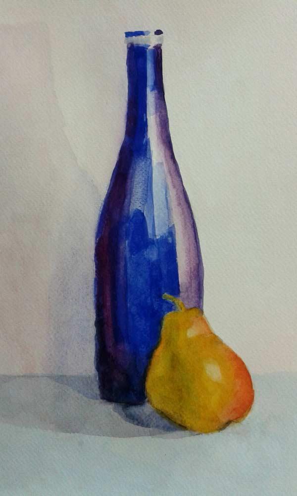 bodegón de botella y pera
